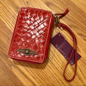 NEW Elliot Luca Red Leather Weave Front Wallet